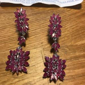 Jewelry - Genuine heated Asian AAA pink red ruby earrings